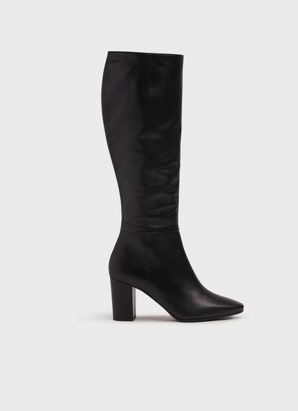 Sirena Black Leather Knee Boots