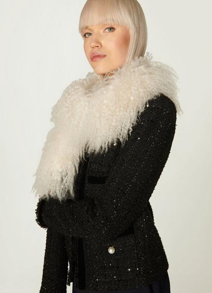 Jasmine Cream Sheepskin Scarf