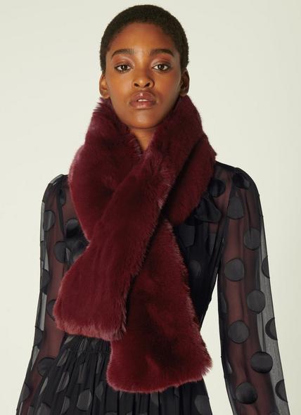 Jodie Burgundy Faux Fur Scarf