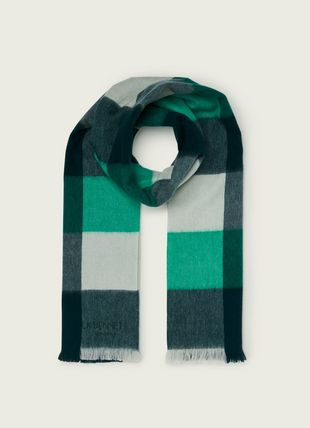 Jude Green Check Lambswool Scarf