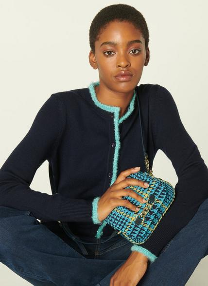 Maizie Turquoise Tweed Crossbody Bag