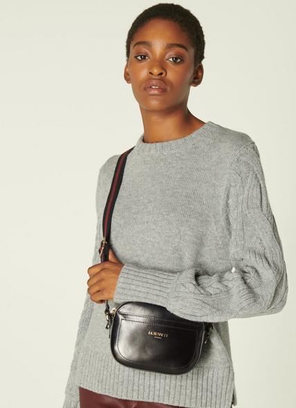 Maura Black Leather Oval Crossbody Bag