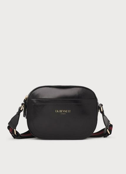 Maura Black Leather Oval Crossbody Bag