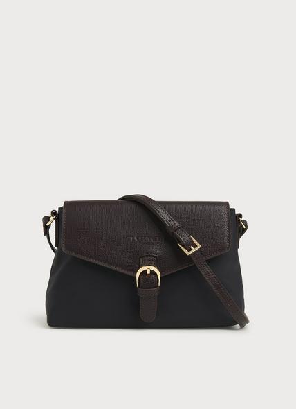 Mila Black Nylon & Bordeaux Leather Crossbody Bag