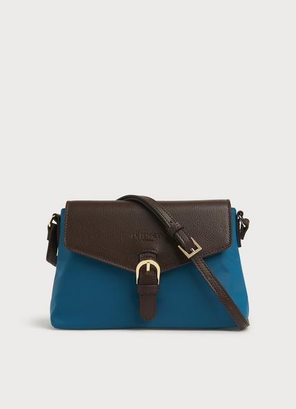 Mila Teal Nylon & Brown Leather Crossbody Bag