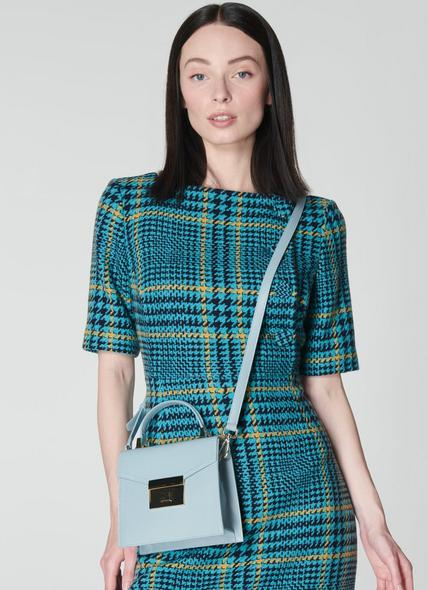 Milly Pale Blue Leather Mini Handheld Bag