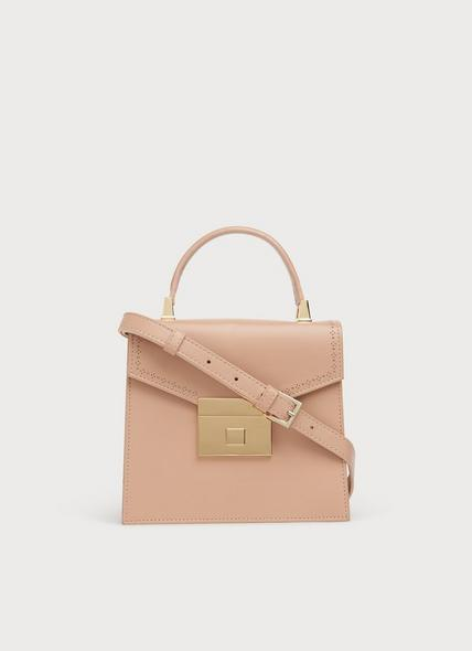 Milly Nude Leather Handheld Bag