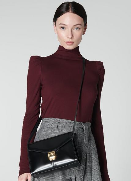 Miranda Black Leather Crossbody Bag