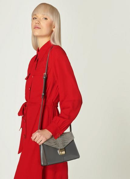 Miranda Smoke Grey Leather Crossbody Bag