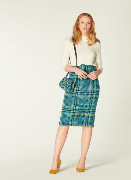 Aimee Turquoise Check Tweed Pencil Skirt