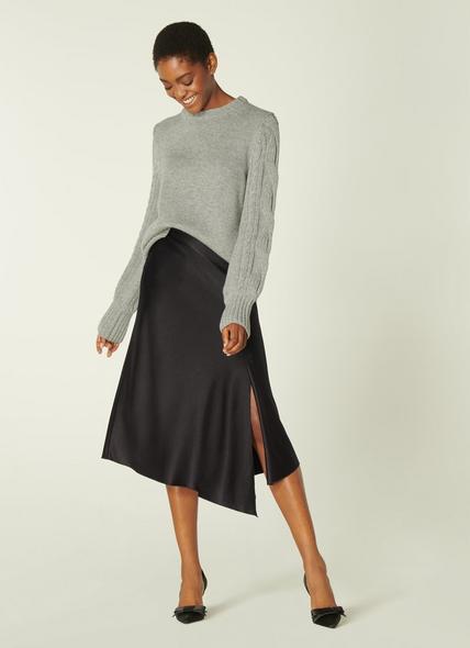 Antonia Black Satin Asymmetric Skirt