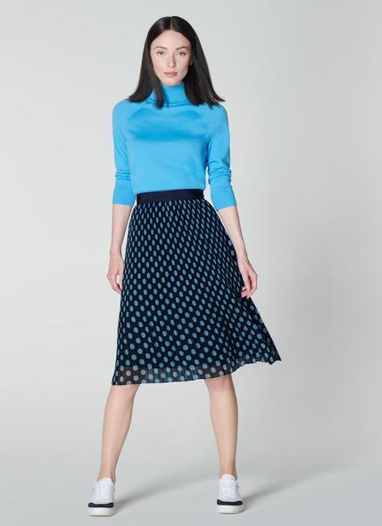 Brooks Navy & Turquoise Pleated Skirt
