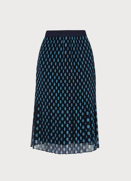 Brooks Navy & Turquoise Pleated Skirt