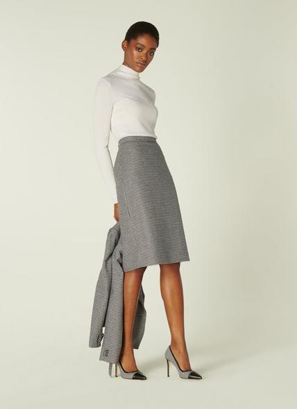 Nina Black & White Dogtooth Pencil Skirt