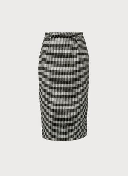 Nina Black & White Dogtooth Pencil Skirt