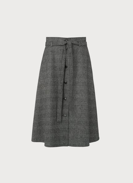 Sage Prince of Wales Check Midi Skirt
