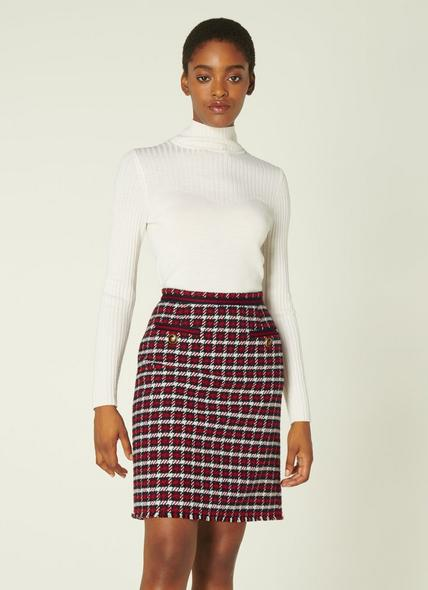 Therese Red Check Tweed Skirt