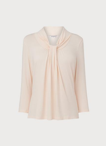 Brooke Ivory Jersey Pussy Bow Top