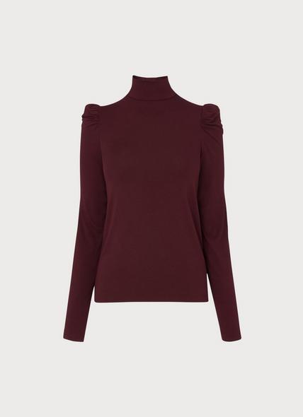 Cora Burgundy Puff Sleeve Jersey Top