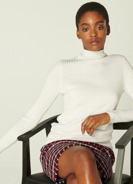 Barbara Cream Ribbed Merino Wool Turtle Neck Jumper