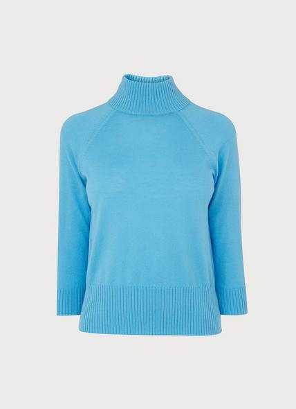 Brett Pale Blue Turtle Neck Merino Wool Jumper