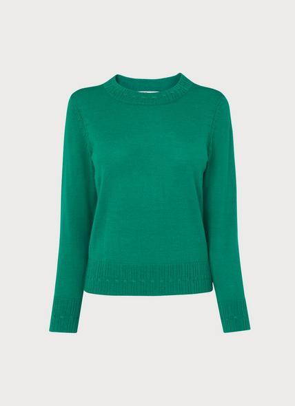Farrow Green Cable Trim Merino Wool Jumper