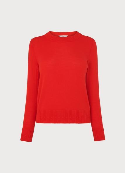 Farrow Red Cable Trim Merino Wool Jumper