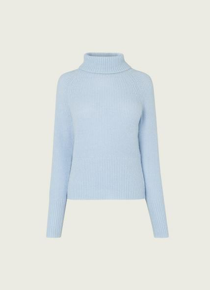 Isabel Pale Blue Mohair-Blend Roll Neck Jumper