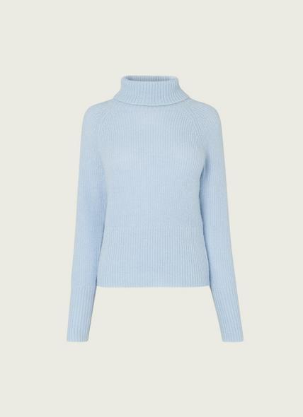 Isabel Pale Blue Mohair-Blend Roll Neck Jumper