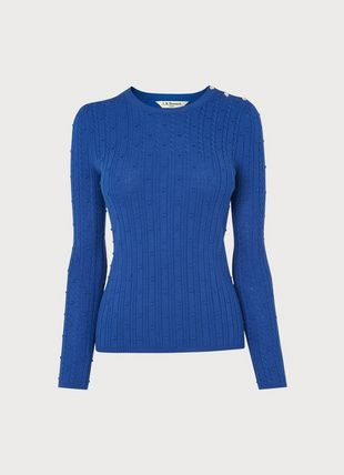 Jewel Blue Cable Knit Crystal Button Jumper