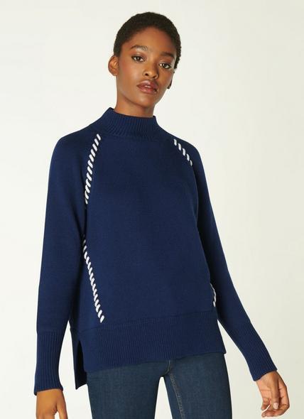 Kerby Navy Wool Stitch Detail Jumper