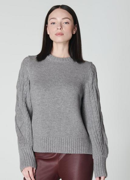 Kiana Grey Cable Knit Wool-Blend Jumper