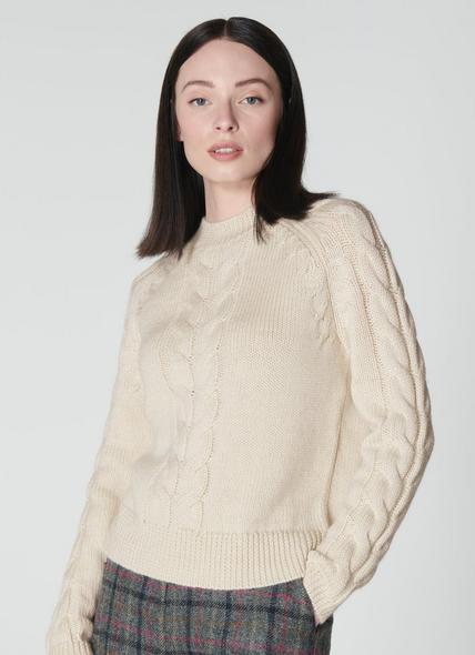 Susan Winter White Cable Knit Wool & Mohair Jumper