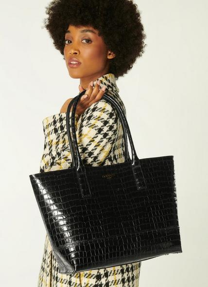 Lacey Black Croc-Effect Leather Tote Bag