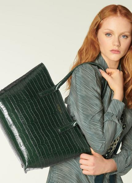 Lacey Green Croc-Effect Leather Tote Bag