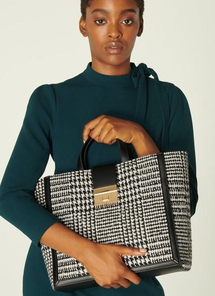 Leia Black & White Check Tote Bag