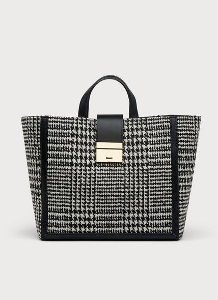 Leia Black & White Check Tote Bag
