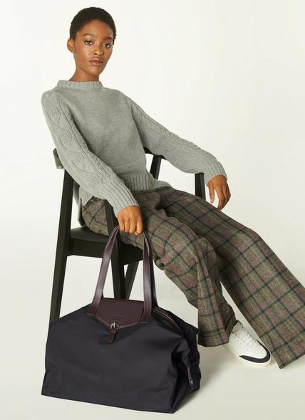 Leona Black Nylon & Bordeaux Leather Weekend Bag