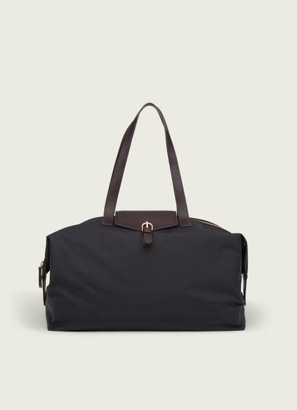 Leona Black Nylon & Bordeaux Leather Weekend Bag