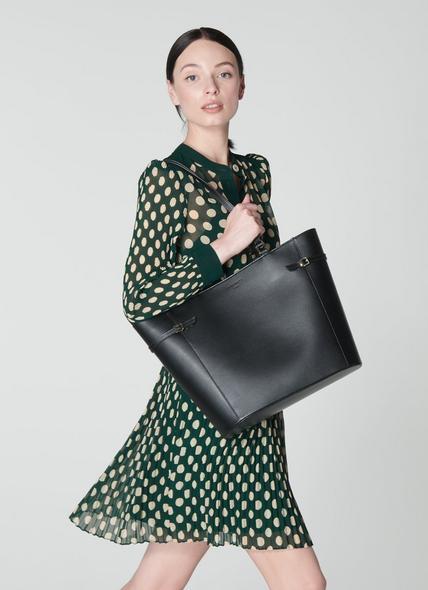 Liberty Black Saffiano Leather Tote Bag