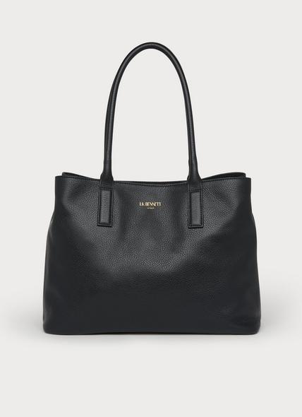 Lilian Black Leather Tote Bag