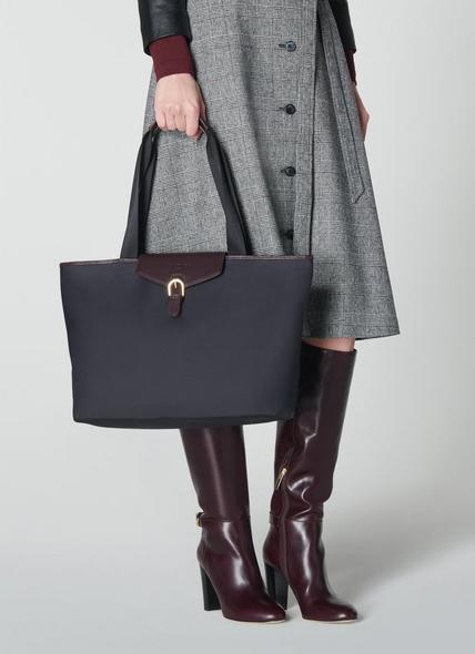 Lolita Black Nylon & Bordeaux Leather Tote Bag