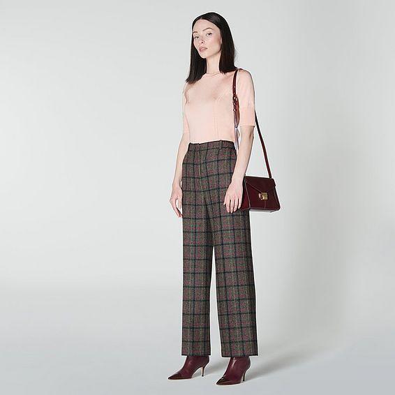 Ellen Grey Wide Leg Check Tweed Wool Trousers