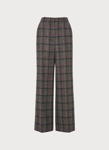 Ellen Grey Wide Leg Check Tweed Wool Trousers