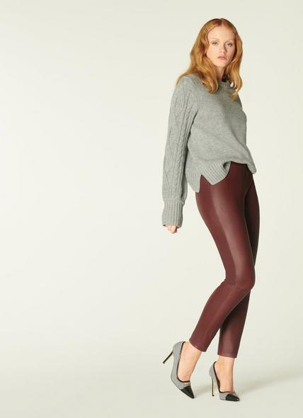 Hollie Burgundy Leather Leggings