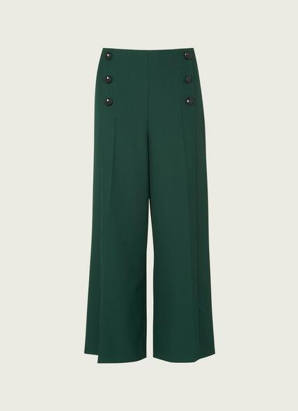 Martina Green Cropped Wide-Leg Trousers