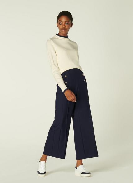 Martina Navy Cropped Wide-Leg Trousers