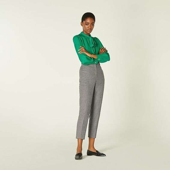 Nina Black & White Dogtooth Tailored Trousers