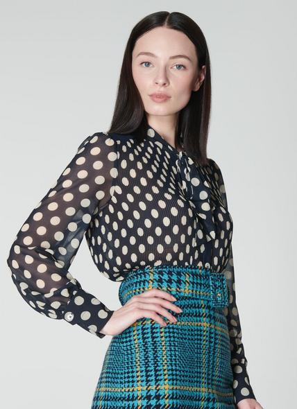 Cora Navy & Cream Spot Print Pleated Blouse