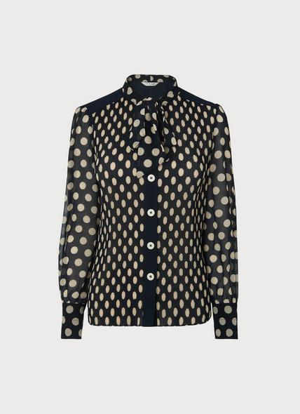 Cora Navy & Cream Spot Print Pleated Blouse